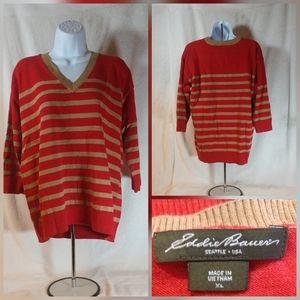 Eddie Bauer Red Gold Striped Sweater